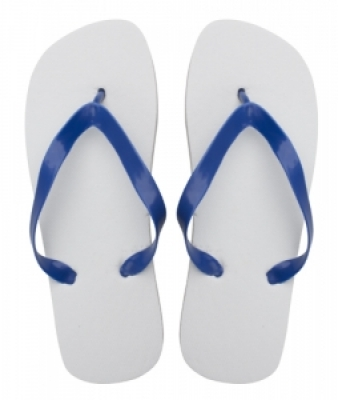 Sunset white with blue beach slippers