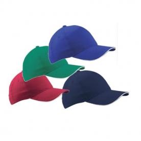 Едноцветни шапки-сандвич, с цветен кант, BC-003. Памук